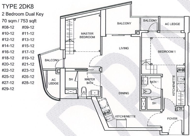 CityGate Floor Plan ::  2 Bedroom Dual Key Loft