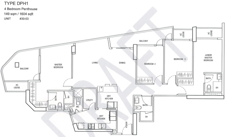 City Gate Floor Plan :: 4 Bedroom Penthouse