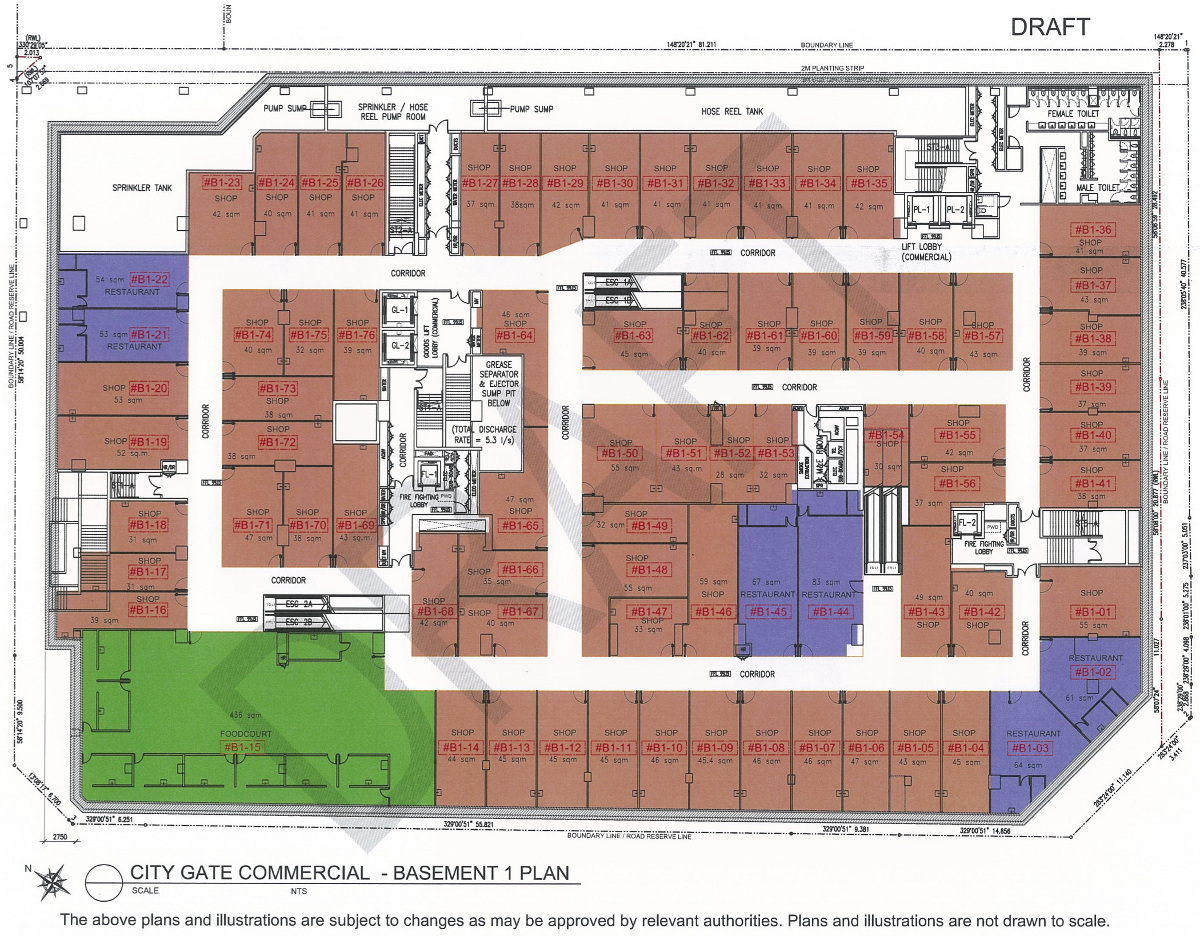 CityGate Floor Plans :: Shops Basement 1